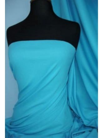 Soft Fine Rib 100% Cotton Knit Material - Turquoise Q61 TQS