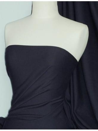 Soft Fine Rib 100% Cotton Knit Material - Midnight Navy Q61 MDNY