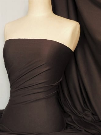 Soft Fine Rib 100% Cotton Knit Material - Brown Q61 BR