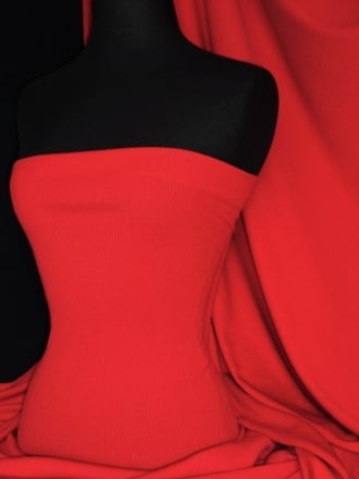 100% Cotton Jersey 2 x 2 Rib Knit Fabric- Red Q1007 RD