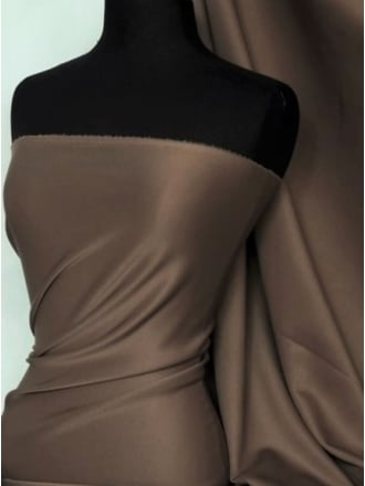 Scuba Stretch Poly Lycra Fabric- Chocolate Brown Q792 CHBR