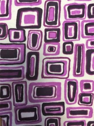 100% Cotton Interlock Knit Soft Jersey T-Shirt Fabric- Purple Abstract Q208 PPL