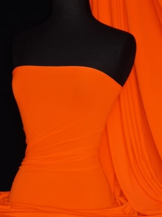 Matt Lycra 4 Way Stretch Fabric- Flo Orange Q56 FLOR
