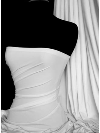 Matt Lycra 4 Way Stretch Fabric- White Q56 WHT