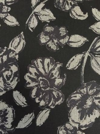 Ponte Double Knit 4 Way Stretch Jersey- Floral Pin Stripes Black/Grey SQ182 BKGR