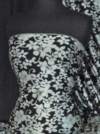 Ponte Double Knit Jacquard 4 Way Stretch Jersey- Black/Silver Flower Print Q1288 BKSLV
