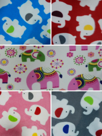 Polar Fleece Anti Pill Washable Soft Fabric- Elephant Prints