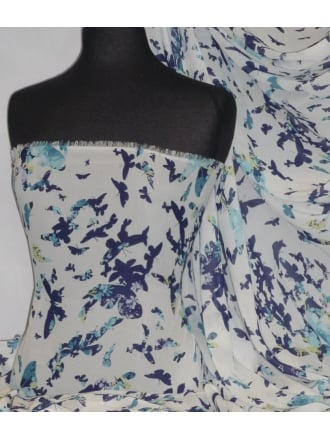 Chiffon Soft Touch Sheer Fabric - Flutter Butterfly CHF55 BLWH