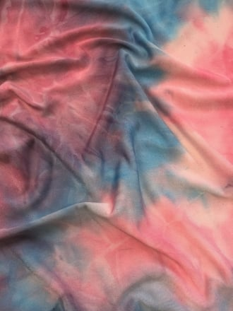 Silk Touch 4 Way Stretch Fabric- Unicorn Pink/Blue Tie Dye SQ183 PNBL