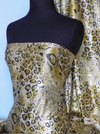 Super Soft Satin Fabric- Lime/Gold Leopard Q247 LMGLD