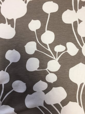 Viscose Cotton Stretch- Botanical Shadow Print Mocha/Cream Q728 MCHCRM