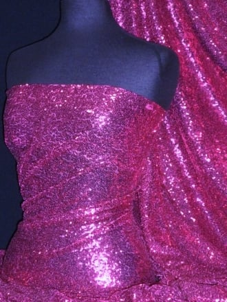 Showtime Fabric All Over Stitched 3mm Sequins - Magenta SEQ53 MGT