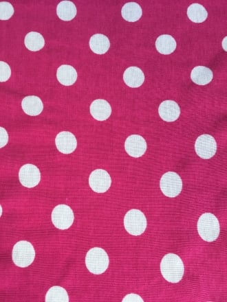 Clearance 100% Cotton Misprint Fabric Material- Cerise/White Polka Dots SQ187 CRSWH