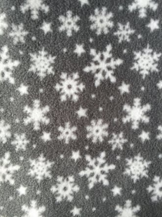 Polar Fleece Anti Pill Washable Soft Fabric- Winter Wonderland Snowflake Grey/White PPFL42 GRWHT