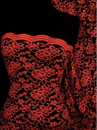 Lace Scalloped Lycra 4 Way Stretch Fabric- Red/Black Rose Q1170 RDBK
