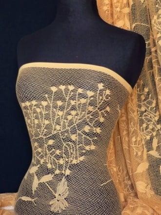 Super Soft 4 Way Stretch Floral Design Lace- Honeycomb Q329 CML
