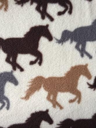 Polar Fleece Anti Pill Washable Soft Fabric- Horse Racing Ivory/Multi PPFL51 IVMLT