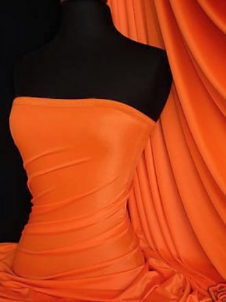 Shiny Lycra 4 Way Stretch Material- Bright Orange Q54 BTOR