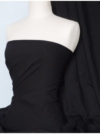 Bengaline Stretch Cotton Poplin Fabric- Black Q1006 BK