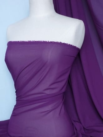 Chiffon Soft Touch Sheer Fabric Material- Purple Q354 PPL