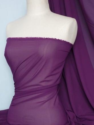Chiffon Soft Touch Sheer Fabric Material- Aubergine  Q354 AUB