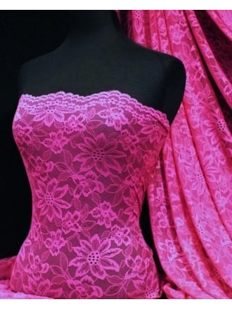 Lace Scalloped Flower 4 Way Stretch Fabric- Fuchsia Q891 FUCH