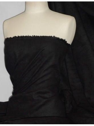 Suedette Suede Look Fabric Material- Black Q835 BK