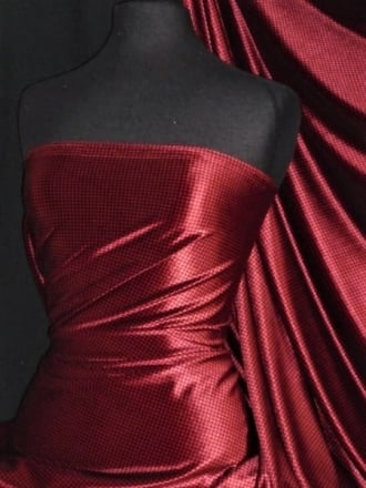 Velvet Spandex Fabric Luxuriously Soft Velvet Material- Red/Black Houndstooth PVEL245 RDBK