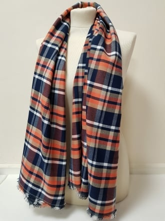 100% Cotton Soft Woven Non-Stretch Fabric- Coral Tartan SQ191 CRL