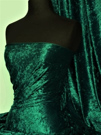 Marble Texture Velvet Lycra 4 Way Stretch Fabric- Forest Green Q172 FGR