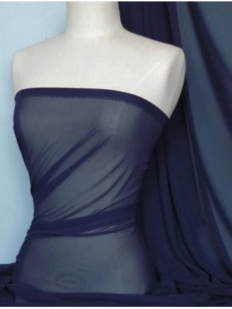 Chiffon Soft Touch Sheer Fabric Material- Midnight Navy Q354 MDNY