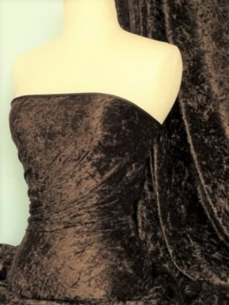 Clearance Crushed Velvet/Velour Stretch Material- Brown SQ195 BR
