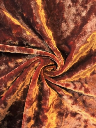 Marble Texture Velvet Lycra 4 Way Stretch Fabric- Burnt Orange Q172 BTOR