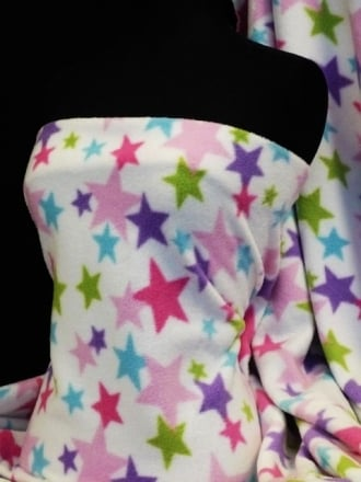 Polar Fleece Anti Pill Washable Soft Fabric- Pink Multi Stars Q828 PN