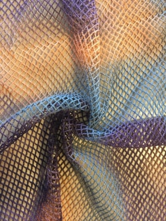 Tie-Dye Fishnet 4 Way Stretch Material- Orange/Brown/Grey Q713 ORBRGR