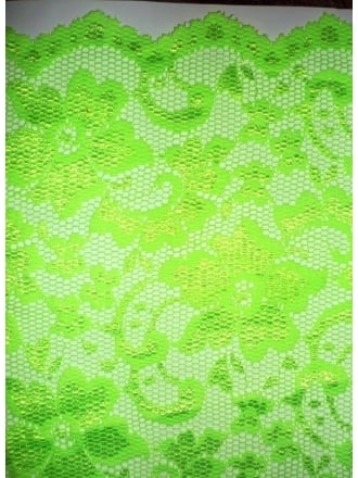 Lace Scalloped Floral Stretch Lycra Fabric- Flo Green Q615 FLGRN