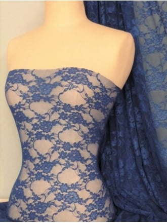 Flower Stretch Lace Fabric- Cornflower Blue Q137 CBL