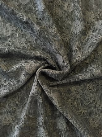 Lace 4 Way Stretch Fabric- Botanical Garden Black SQ202 BK