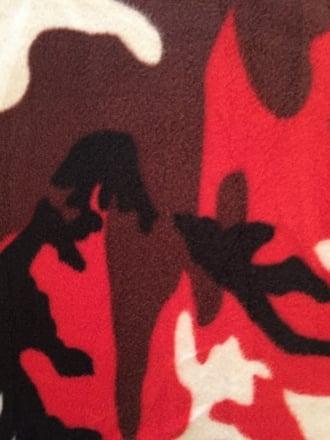 Polar Fleece Anti Pill Washable Soft Fabric- Red/Black Camouflage Q1407 RDBK