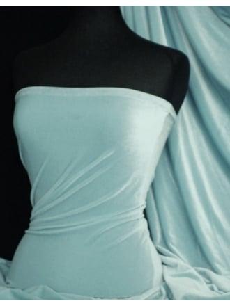 Velvet /Velour 4 Way Stretch Spandex Lycra- Baby Blue Q559 BBL