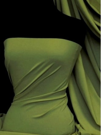 Matt Lycra 4 Way Stretch Fabric- Sap Green Q56 SPGR
