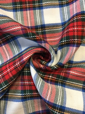 100% Cotton Soft Woven Non-Stretch Fabric- Red Tartan SQ191 RD