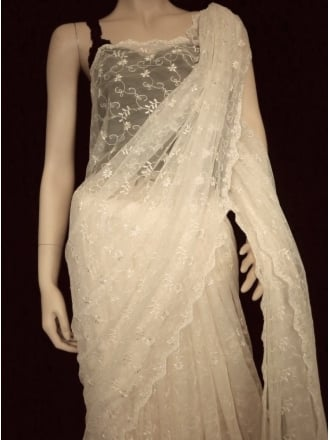 5 Metres Embroidered Broderie Anglaise Fancy Dress Net- Cream Q1044 CRM