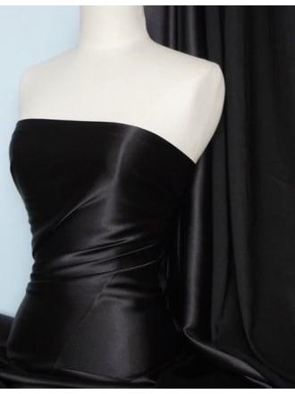 Satin Non-Stretch Fabric Material- Black SQ291 BK