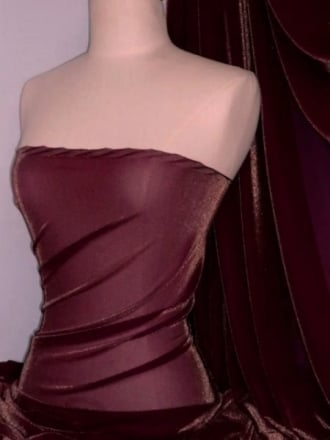 Subtle Gold Shimmer 4 Way Stretch Fabric - Wine SQ55 WN