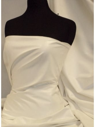 Leatherette Fabric PVC Leather Stretch Scuba Material- Ivory PV199 IV