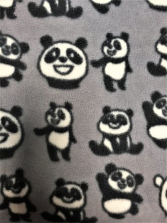 Polar Fleece Anti Pill Washable Soft Fabric- Panda Bears Q1412 GRBK