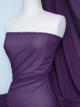 Chiffon Soft Touch Sheer Fabric Material- Dark Purple Q354 DKPPL