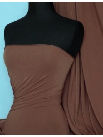 Micro Lycra 4 Way Stretch Fabric - Saddle Brown Q259 SDBR