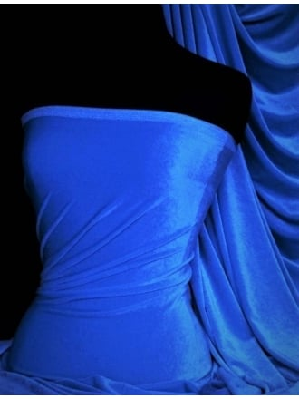 Velvet/Velour 4 Way Stretch Spandex Lycra- Mid Blue Q559 MDBL